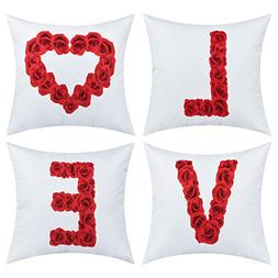 BLEUM CADE Valentine Pillow Covers Red Rose Love Throw Cushi