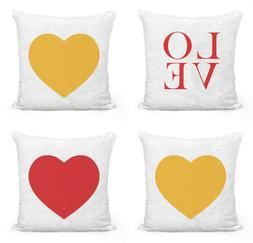 Valentines Day Love Heart Sequin Pillow Covers 16x16 Pillow