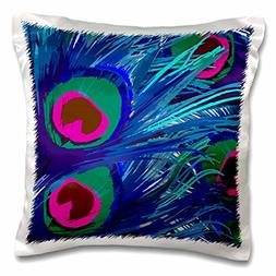 3dRose Vector Peacock Feathers in Electric Blue and Pink-Pil