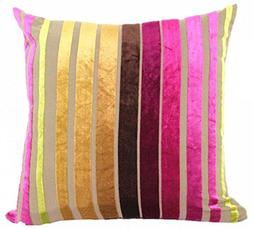 Eazyhurry Velvet Stylish Striped Soft Cushion Cover with Inv