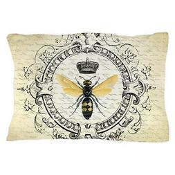 CafePress Vintage French Queen Bee Pillow Case