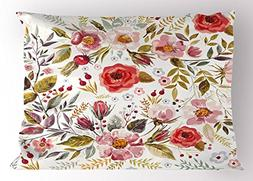 Lunarable Vintage Pillow Sham, Floral Theme Hand Drawn Roman