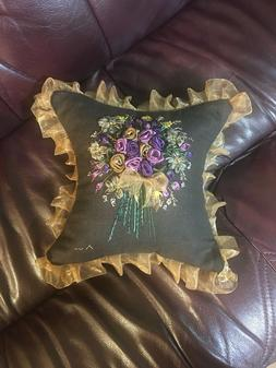 "Vintage Style Brown Throw Accent Pillow 10""x10"" Silk Ribbon"