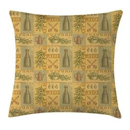 Lunarable Vintage Throw Pillow Cushion Cover, Olive Harvest