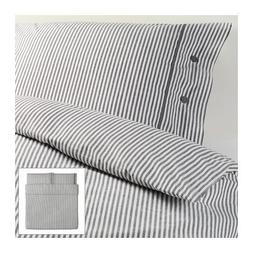 Beautiful White and Gray Striped Pattern Duvet Cover and Pil