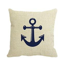 White And Navy Blue Nautical Wedding Pillow Case for Sofa or