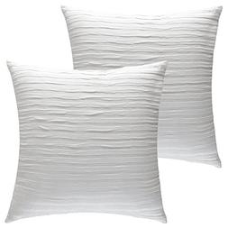HOMFINER White Ruffle Stripes Textured Decorative Throw Pill