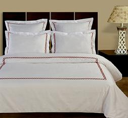 10-PC White & Wine Queen size Amy Embroidered Down Alternati