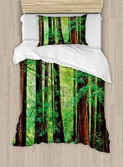 Ambesonne Woodland Duvet Cover Set Twin Size, Redwood Trees