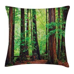 Ambesonne Woodland Throw Pillow Cushion Cover, Redwood Trees