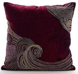 Zardozi Purple Pillow Cases, Velvet 16X16 inch Throw Pillow