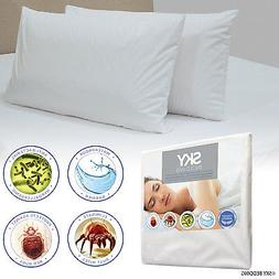 zippered pillow protector case waterproof breathable terry